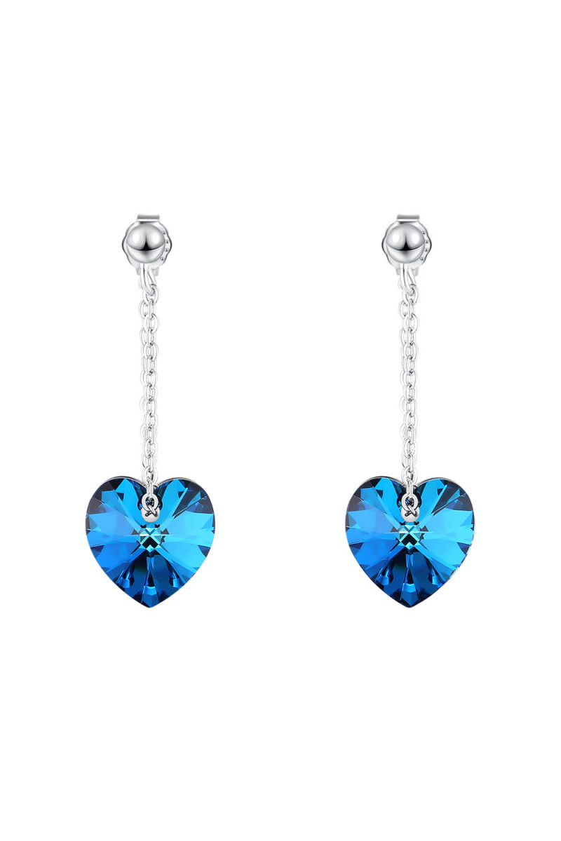 Trendy and chic silver blue fancy pendant statement earrings - Ref 30578 - 01