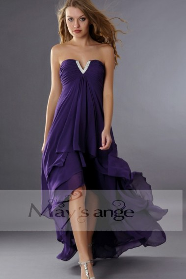 Long cocktail dress - Asymmetrical Violet Wedding-Guest Dress With V Rhinestones - C088 #1