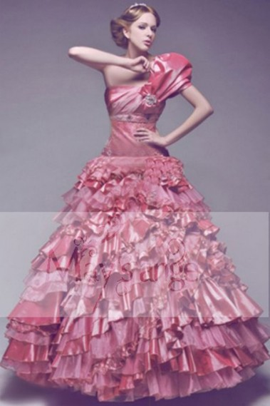Princess Evening Dress - Princess Ball Gown With Ruffles And Puff Sleeves - P014 #1