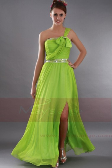 Evening Dress with straps - Long Summer Green Dress One Strap With Slit - L155 #1