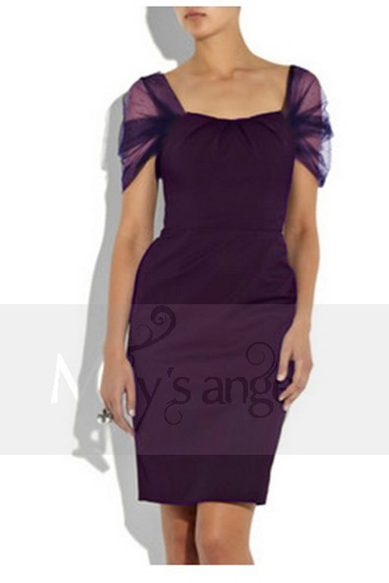 Promotion Robe de cocktail Bella violette - Ref C003Promo - 01
