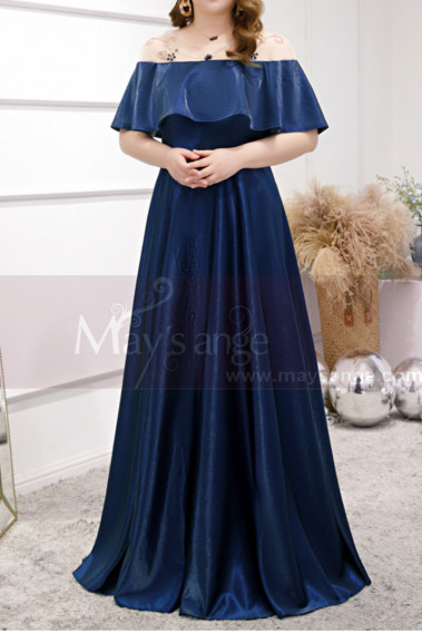 Plus Size Long Formal Dresses Navy Blue With Ruffle Neckline - L2230 #1