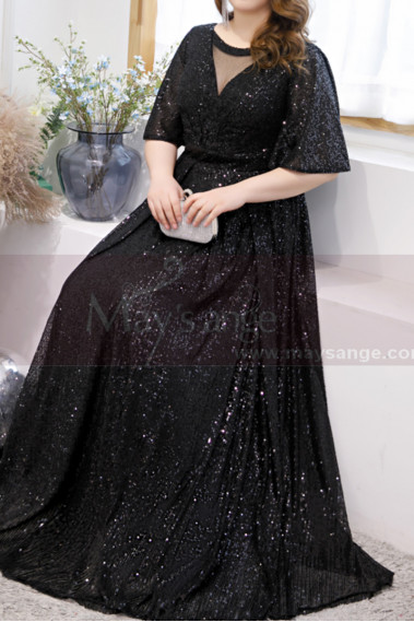 Sparkling Floor-Lenght Long Black Evening Dresses With Flared Sleeves - L2231 #1