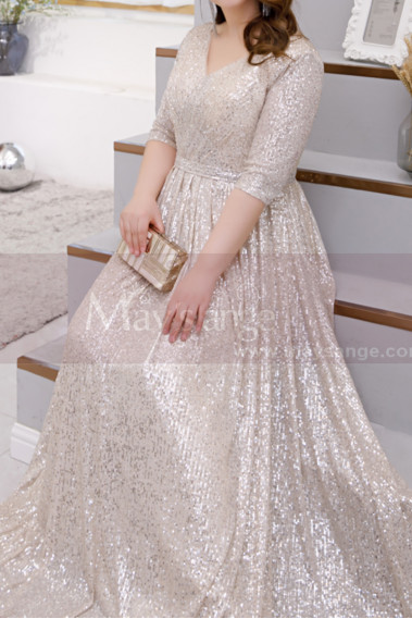 V Neck Plus Size Evening Gowns Cream Colour With 3/4 Sleeves - L2232 #1