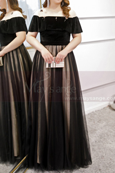 Two-Tone Tulle Skirt Designer Evening Gowns With Lacing Back - L2233 #1