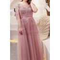 Tulle Long Illusion Plus Size Pink Evening Gowns With Sleeves - Ref L2234 - 02