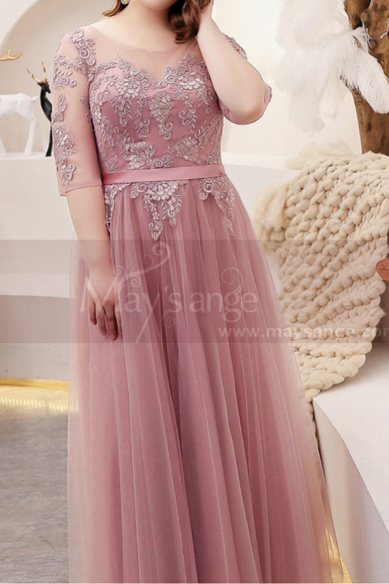 Tulle Long Illusion Plus Size Pink Evening Gowns With Sleeves - Ref L2234 - 01