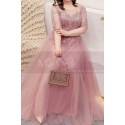 Tulle Long Illusion Plus Size Pink Evening Gowns With Sleeves - Ref L2234 - 03