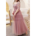 Tulle Long Illusion Plus Size Pink Evening Gowns With Sleeves - Ref L2234 - 04
