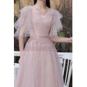 Knee Lenght Vintage Pink Short Evening Gowns With Sleeves - Ref C2050 - 02