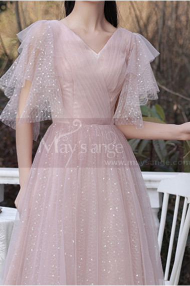 Knee Lenght Vintage Pink Short Evening Gowns With Sleeves - C2050 #1