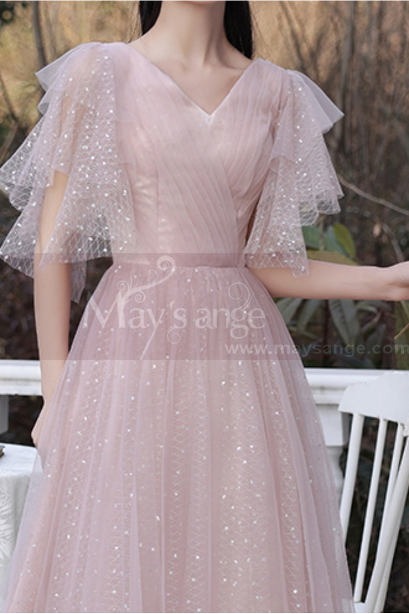 Knee Lenght Vintage Pink Short Evening Gowns With Sleeves - Ref C2050 - 01
