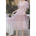 Knee Lenght Vintage Pink Short Evening Gowns With Sleeves - Ref C2050 - 03