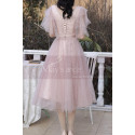 Knee Lenght Vintage Pink Short Evening Gowns With Sleeves - Ref C2050 - 04