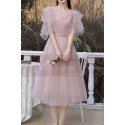 Knee Lenght Vintage Pink Short Evening Gowns With Sleeves - Ref C2050 - 05