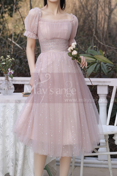 Tulle Flared Skirt Pink Evening Wedding Dress Short Sleeves - C2051 #1
