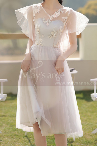 Soft Tulle Short Pink Evening Gowns For Women With Gray Lined - C2053 #1