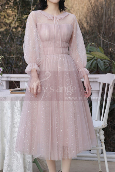 Short Vintage Evening Dress With Sequins And Puffy Sleeves - C2055 #1