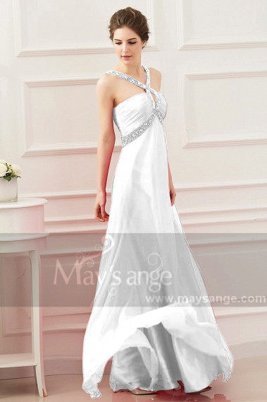 Long White Pure Cheap Wedding Dresses With Rhinestone Straps - M1317 #1