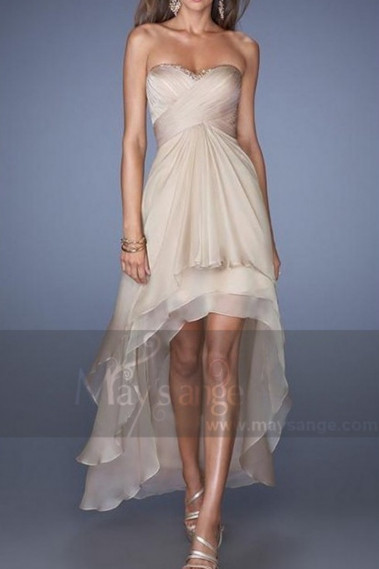 Gold Cocktail Dress Strapless Pleated bodice - L182 #1
