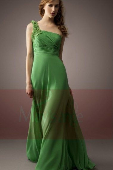 Evening Dress with straps - Green Cocktail Party Dress One Floral Strap - L034 #1
