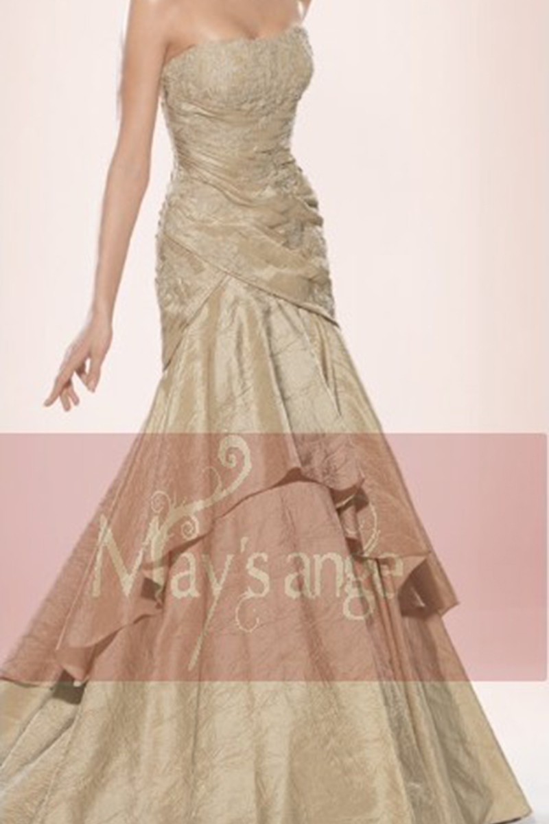 Evening gown dress Champagne in taffeta