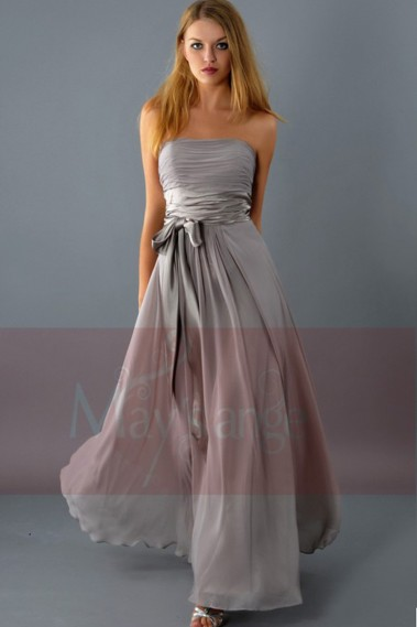 Long prom dress bustier Natural bustier brownish-grey and belt in satin on the waist - L083 #1