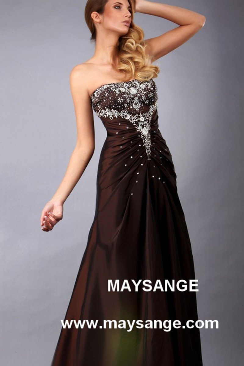 Long Brown Strapless Dress With Rhinestones Bodice for Bridesmaids - Ref L105 - 01