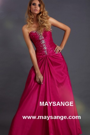 Pink evening dress - Prom evening dress in Taffeta color fuchsia - L147 #1
