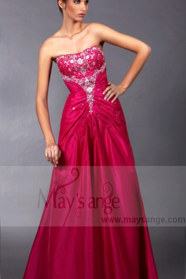 Pink bridesmaid dress - Long Formal Dress With Rhinestones And Beads - L129 #1
