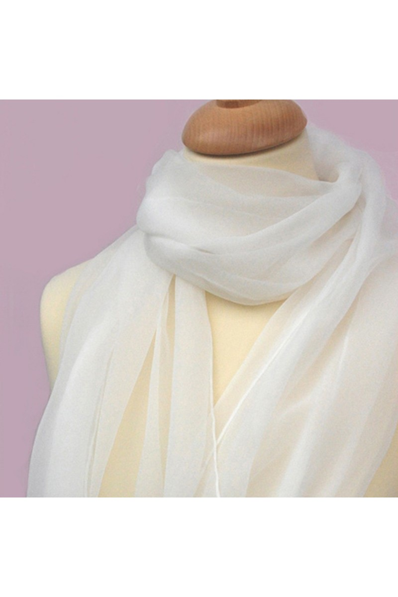 Thin white chiffon scarves for womens - Ref ETOLE01 - 01