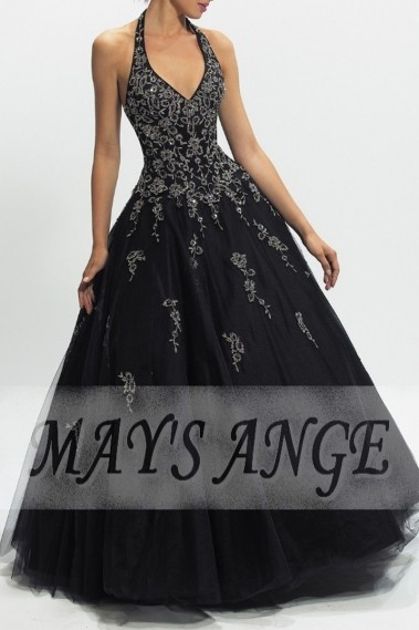 Evening Dress with straps - Beautiful Ball Gown Dress In Black Organza - P024 #1