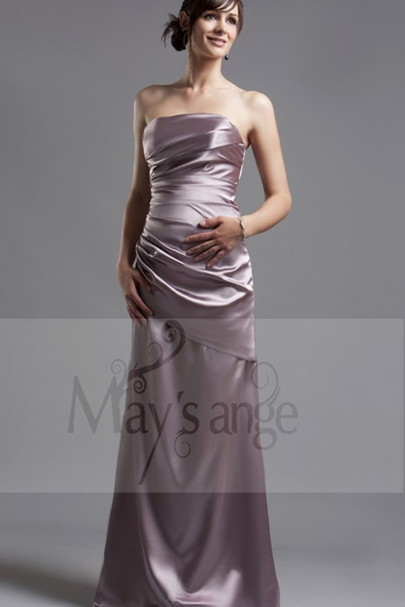 Silver Formal Gown In Shiny Satin - Ref L038 - 01