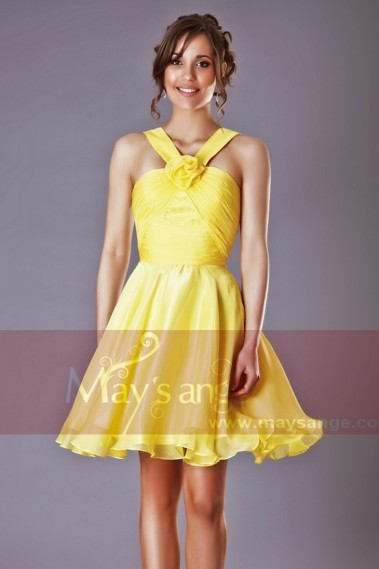 Cocktail dress passiflore jaune - C205 #1