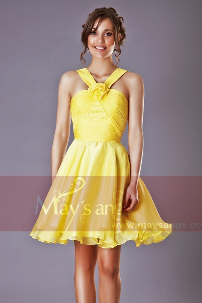 Robe de cocktail Passiflore jaune - Ref C205 - 01