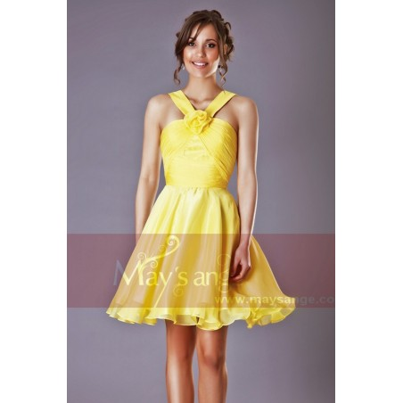 Robe de cocktail Passiflore jaune - Ref C205 - 02