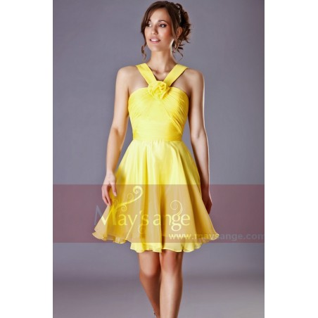 Robe de cocktail Passiflore jaune - Ref C205 - 03