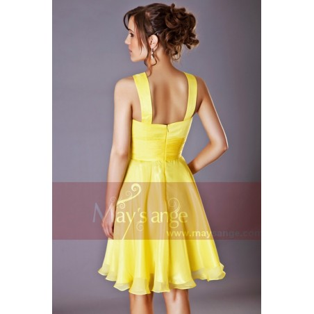 Robe de cocktail Passiflore jaune - Ref C205 - 04