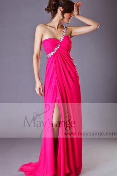 Evening Dress with straps - Summer Pink Long Dress For A Gala Evening - L012 #1