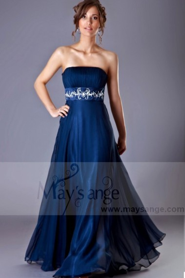 Blue evening dress - Long Formal Dress Pleated Strapless Bodice - L048 #1