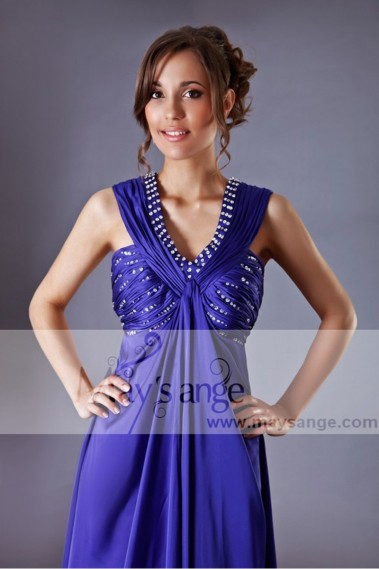 Blue evening dress - Evening dress Purple in satin with beautiful glitter - L142 #1