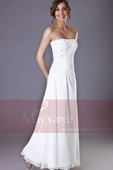 Fluid Evening Dress - Long White Strapless Dress With Lace - L046 #1