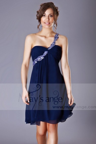 Long cocktail dress - Open Back Navy Blue Cocktail Dress With One Strap - C155 #1