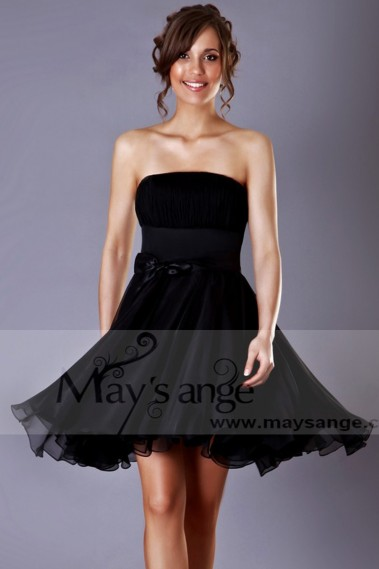 Short cocktail dress - Strapless Black Chiffon Party Dress - C197 #1