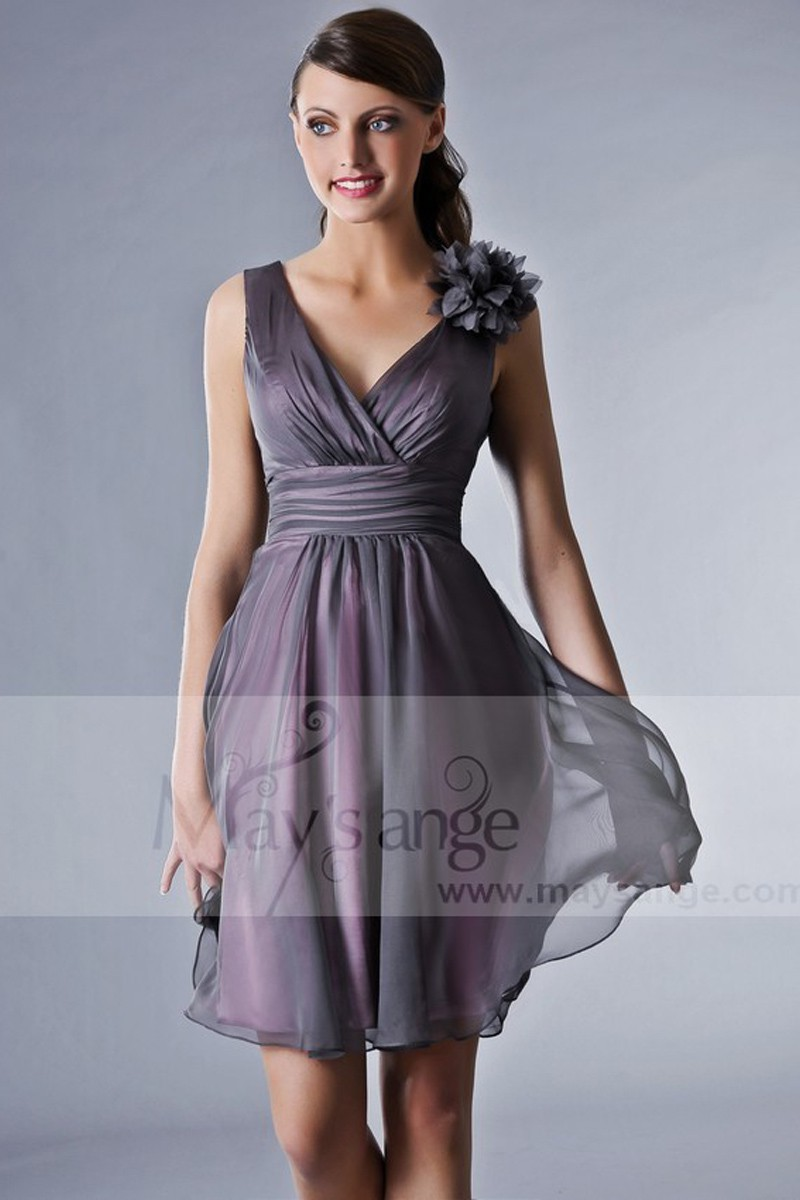 Short Grey Cocktail Dress - Ref C008 - 01