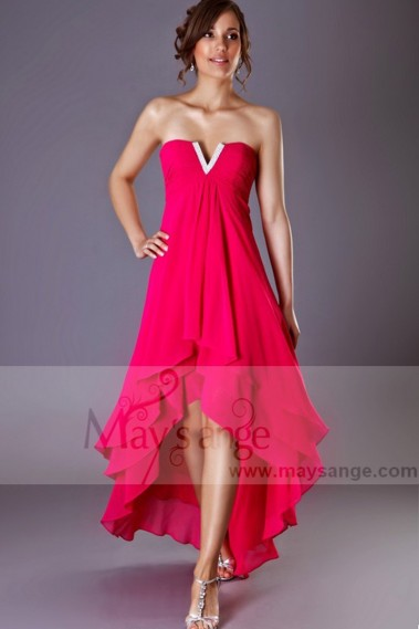 Long cocktail dress - High-Low Chiffon Fuchsia Wedding-Guest Party Dress - C194 #1