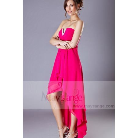 Robe de cocktail grise et fuchsia