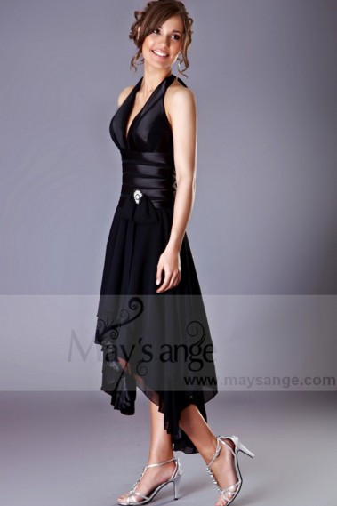 Long cocktail dress - Asymmetrical Black Cocktail Dress - C018 #1
