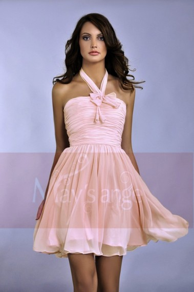 Beautiful Neck Collar Short Pink Birthday Dresses Draped Top - C049 #1