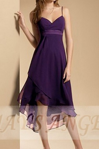 Long cocktail dress - Purple Casual Party Dress - C031 #1